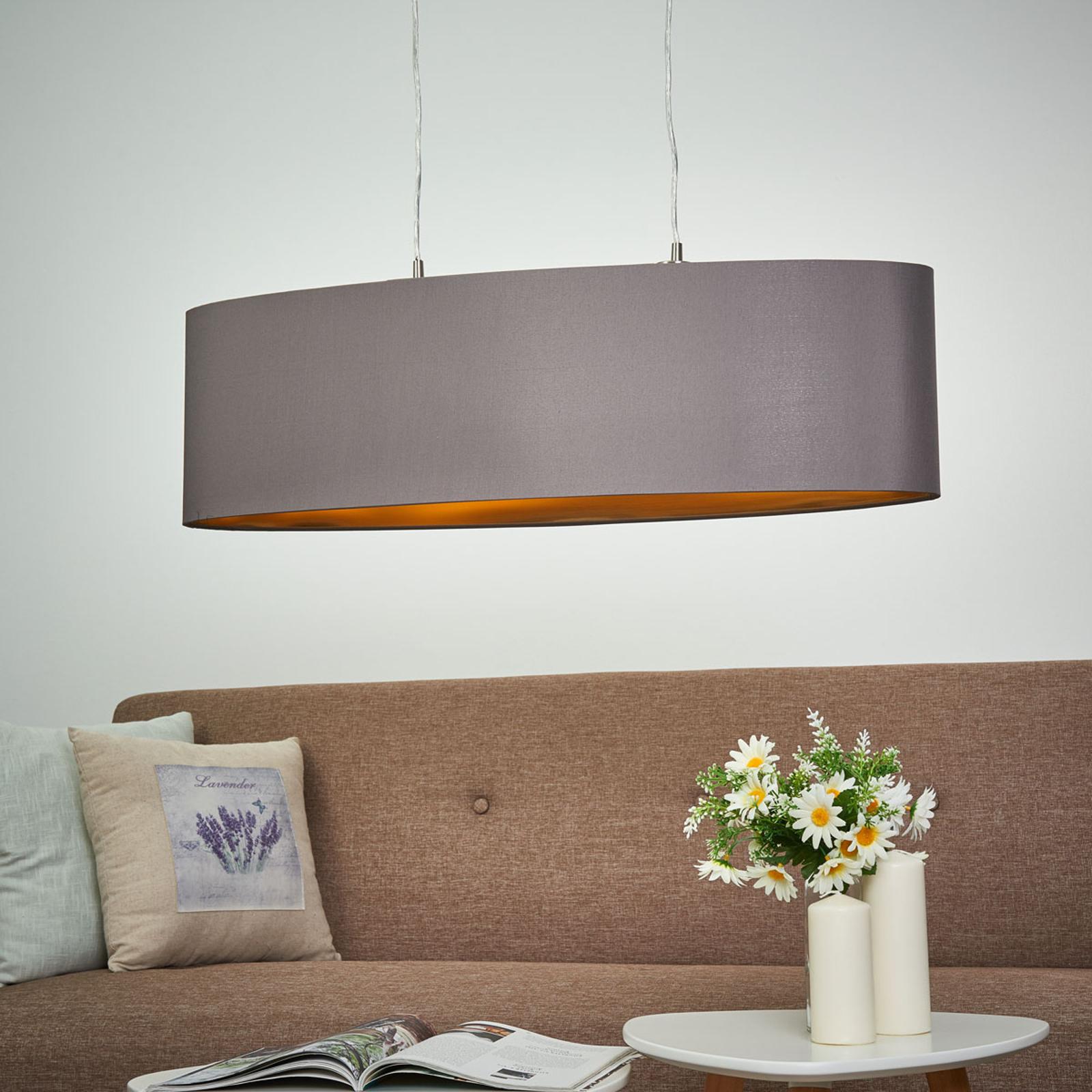 Lampada sosp. ovale di stoffa Carpi, lung.78 cm