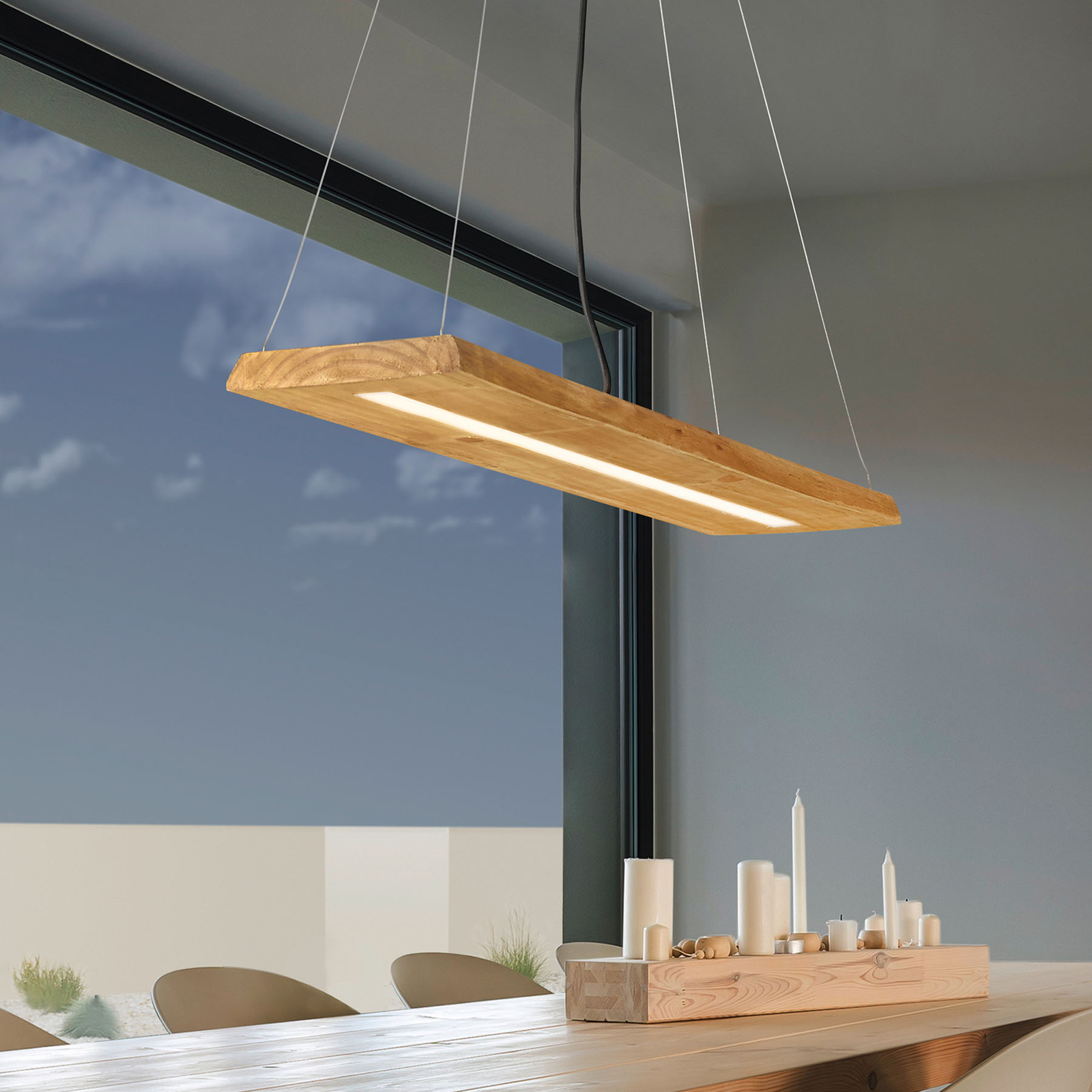 Suspension LED Brad en bois