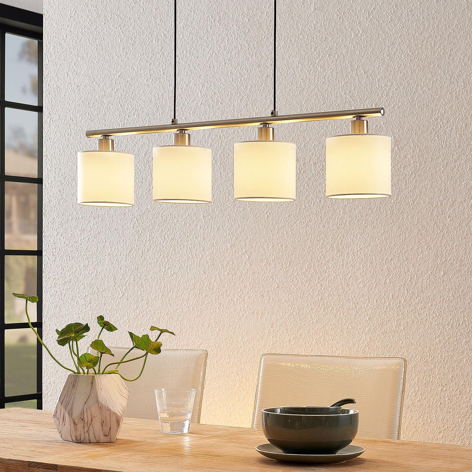 Lindby Stannis lámpara colgante con tela, 4 luces