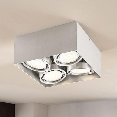 LED-Downlight Rosalie, dimmbar, eckig, 4-fl., alu