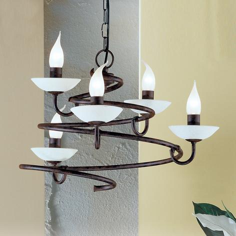 Lámpara de araña Mauro con vidrio Scavo, 5 luces