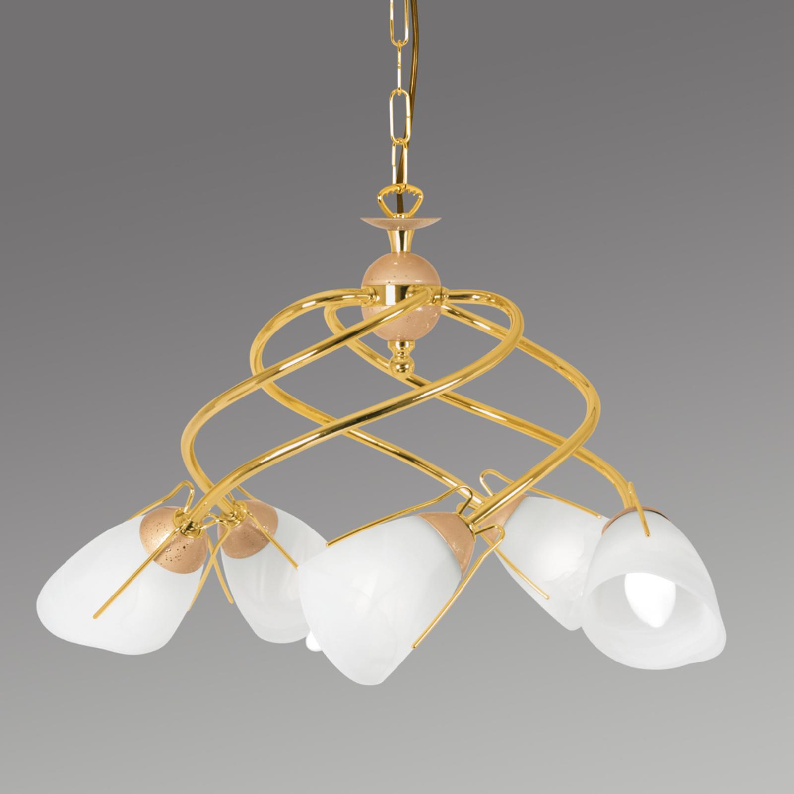 Złota lampa wisząca Rondo