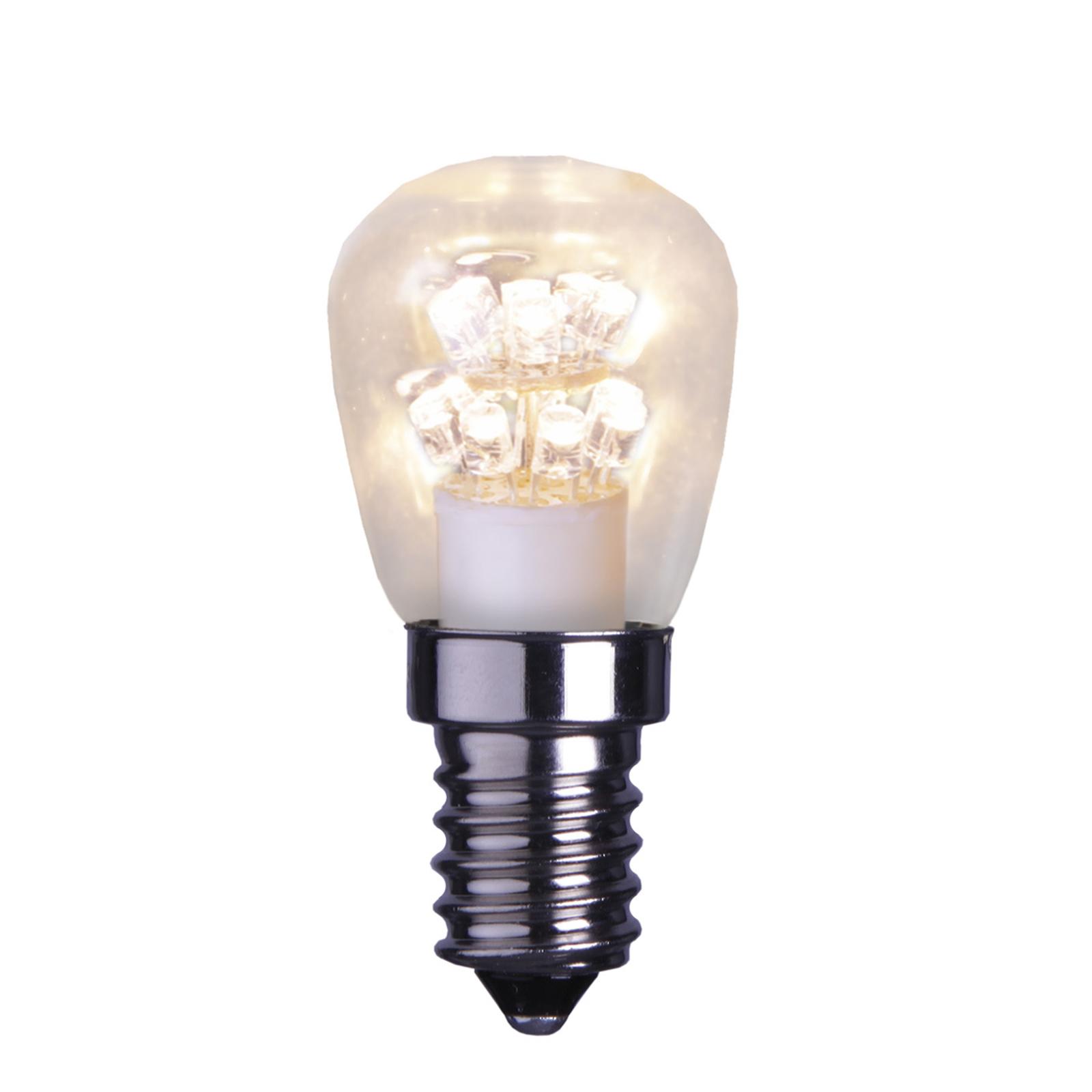 E14 0,7W klar LED-lyspære, varmhvitt lys (2100 K)