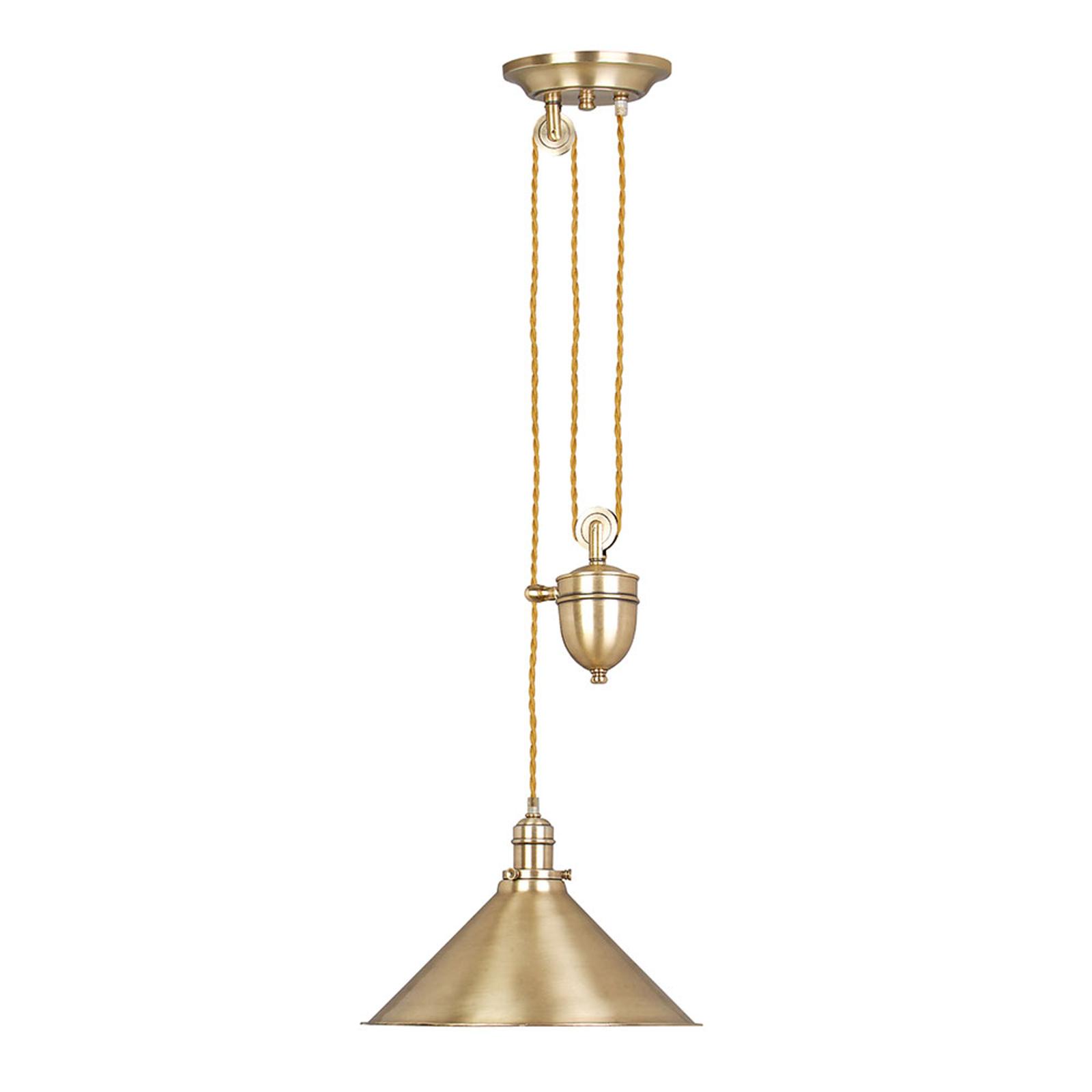 Hanglamp Provence, in hoogte verstelbaar, messing