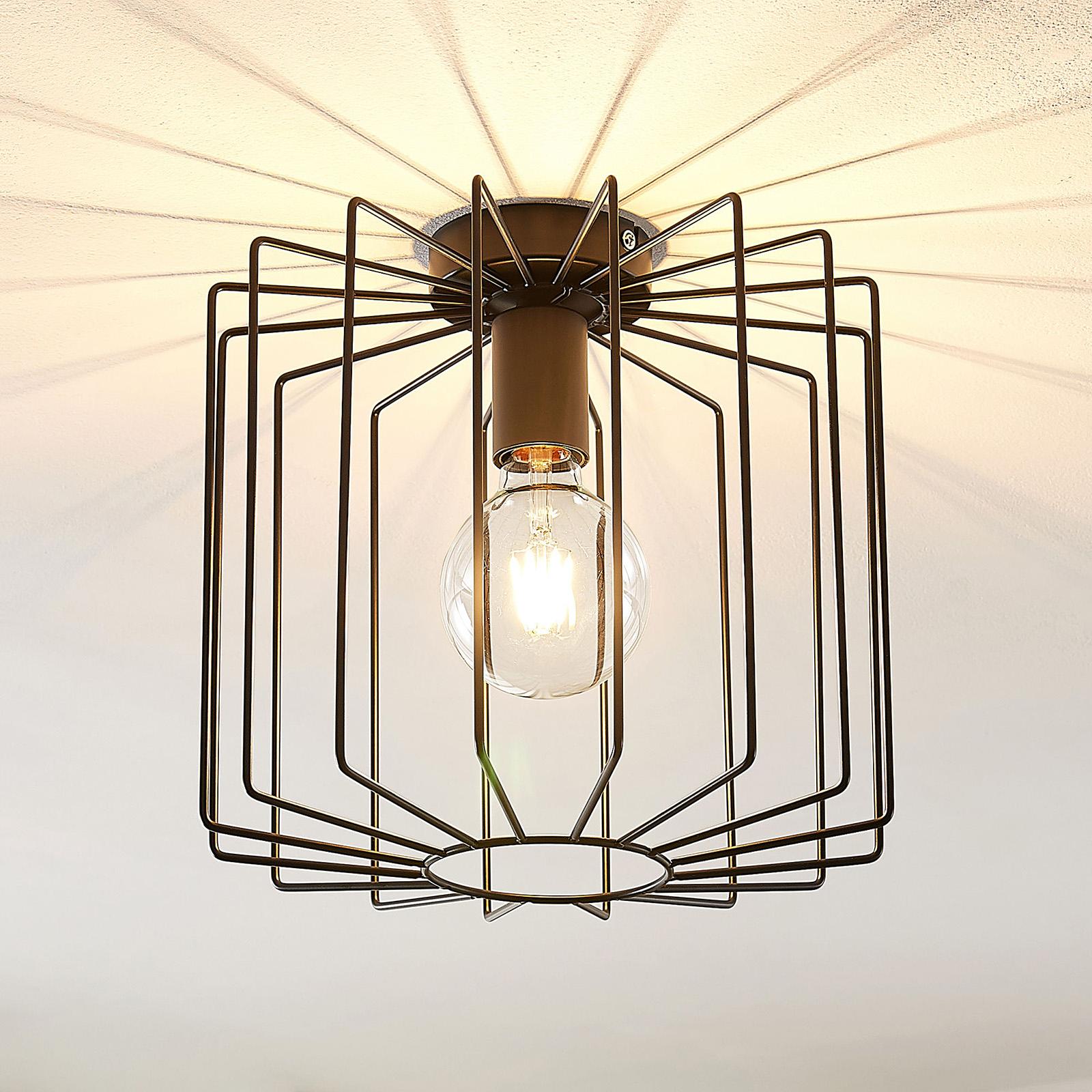 Lindby Agosto Deckenlampe, Metallkäfig, schwarz