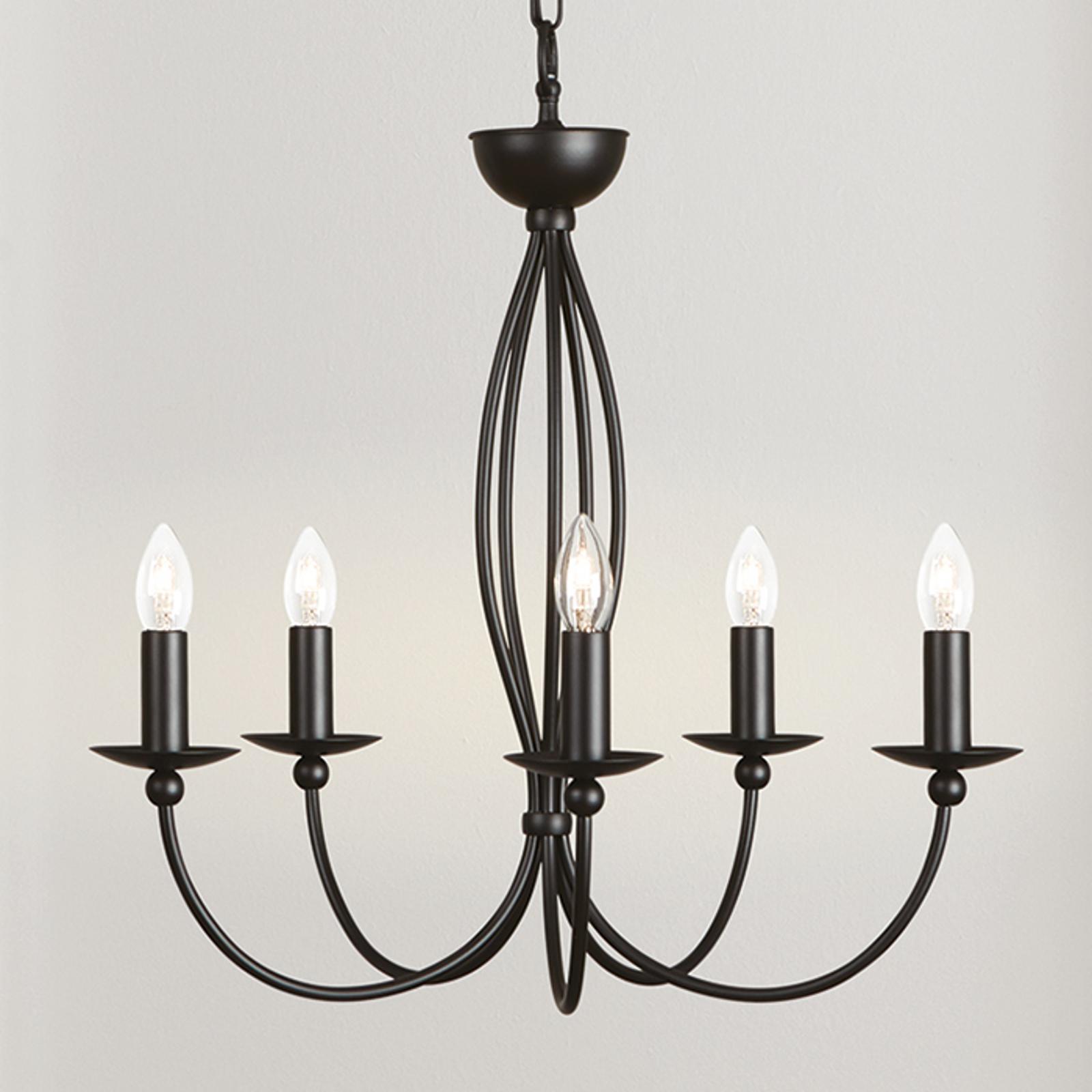 Elegante lámpara de araña Rocco, 5 llamas negro