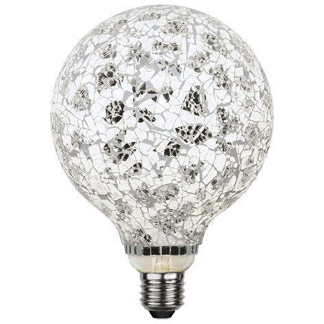 LED globe G130 E27 4W Mosaic nero/argento 4.000K