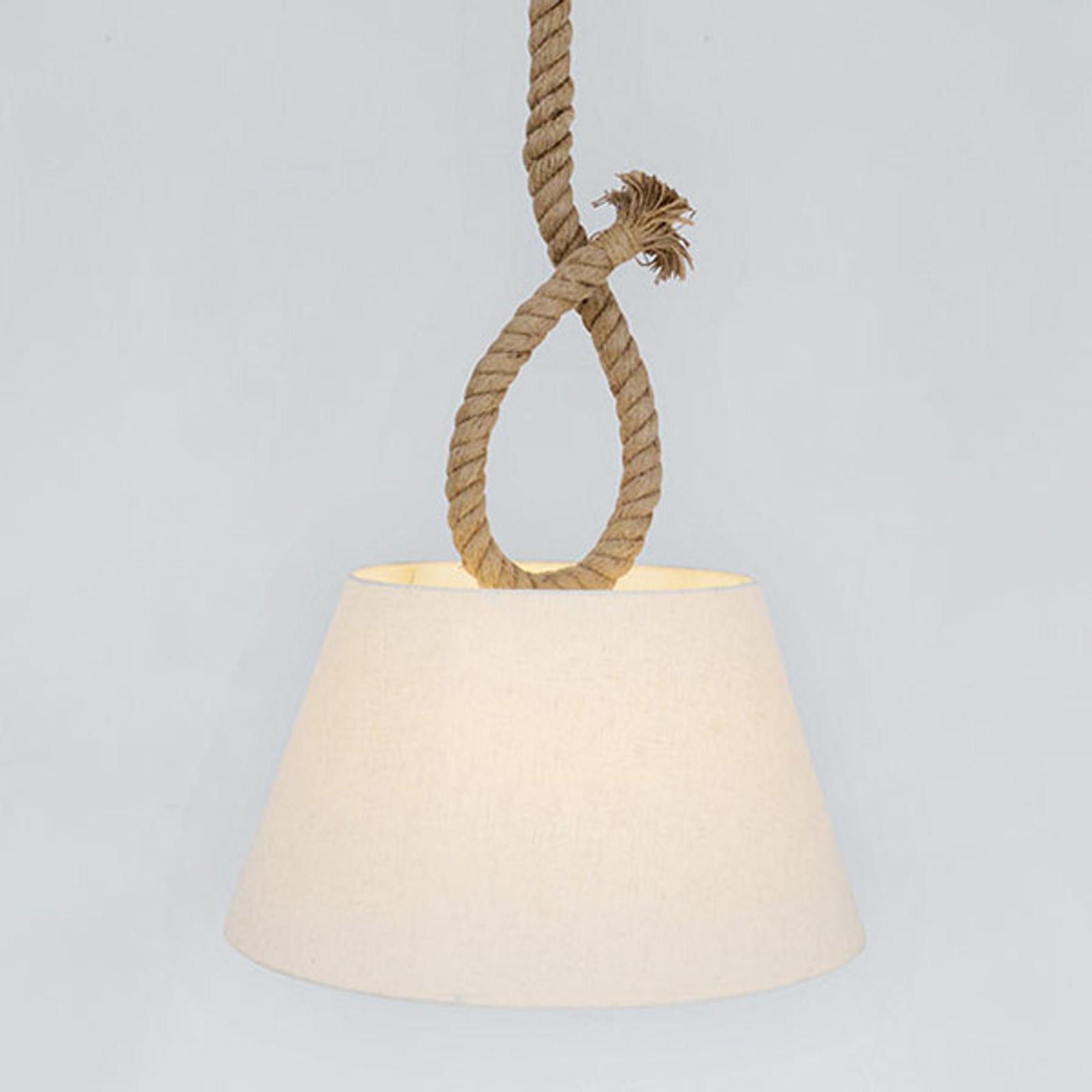 Suspension Rope corde naturelle et abat-jour tissu