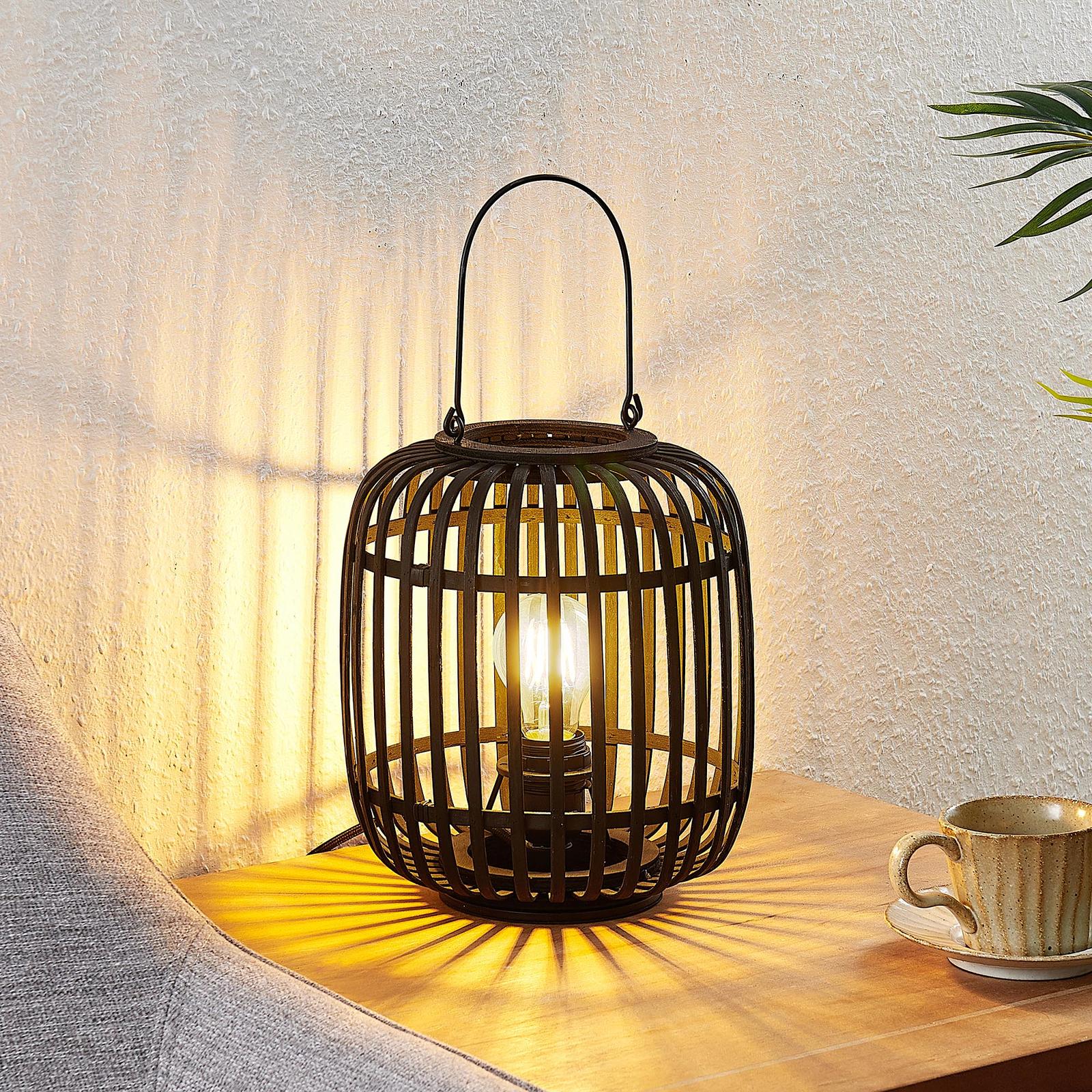 Lindby Canyana lampa stołowa z rattanu, czarna