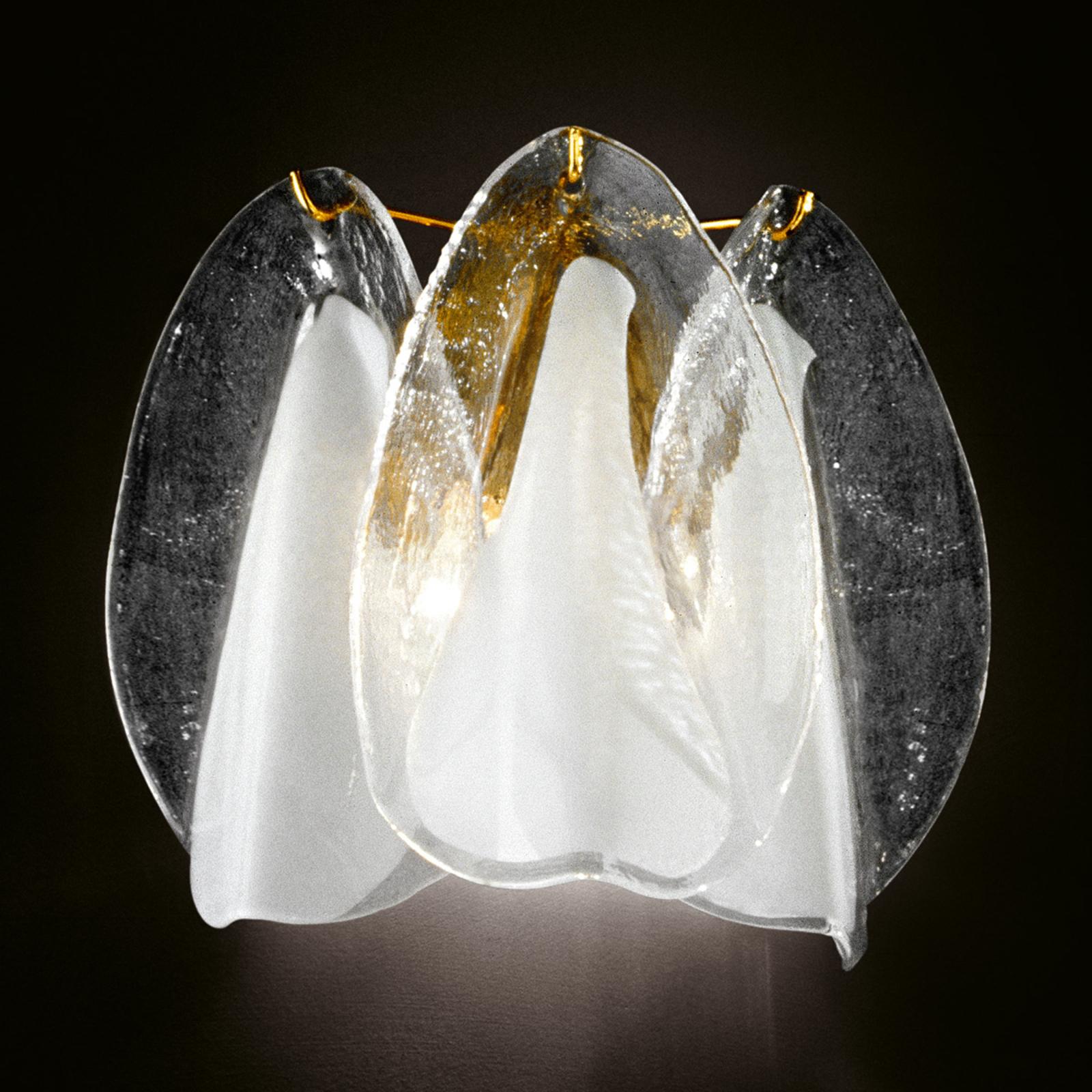 Glazen wandlamp Rondini met 24 karaats goud