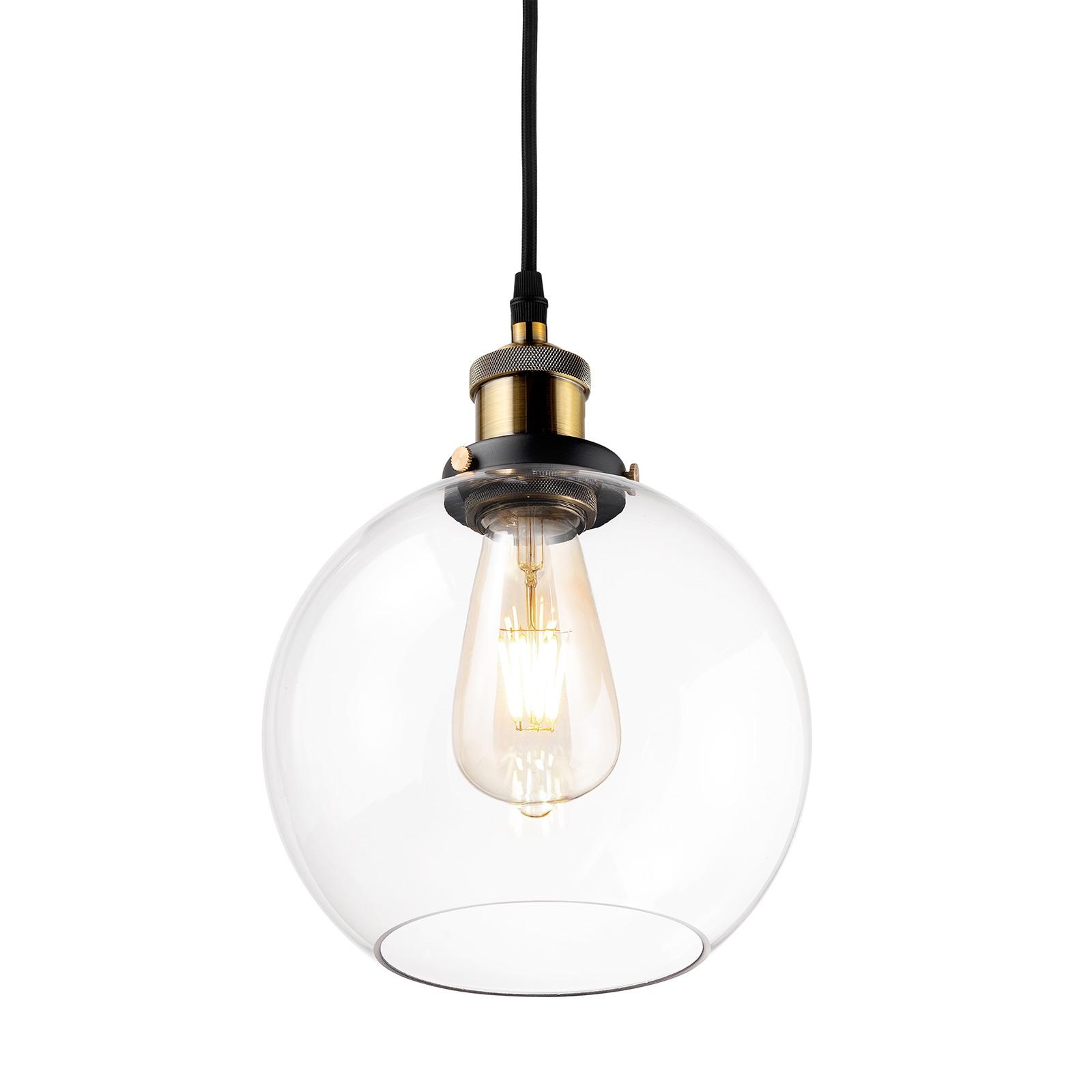 Sospensione LA035 E27 rotonda ottone/trasparente