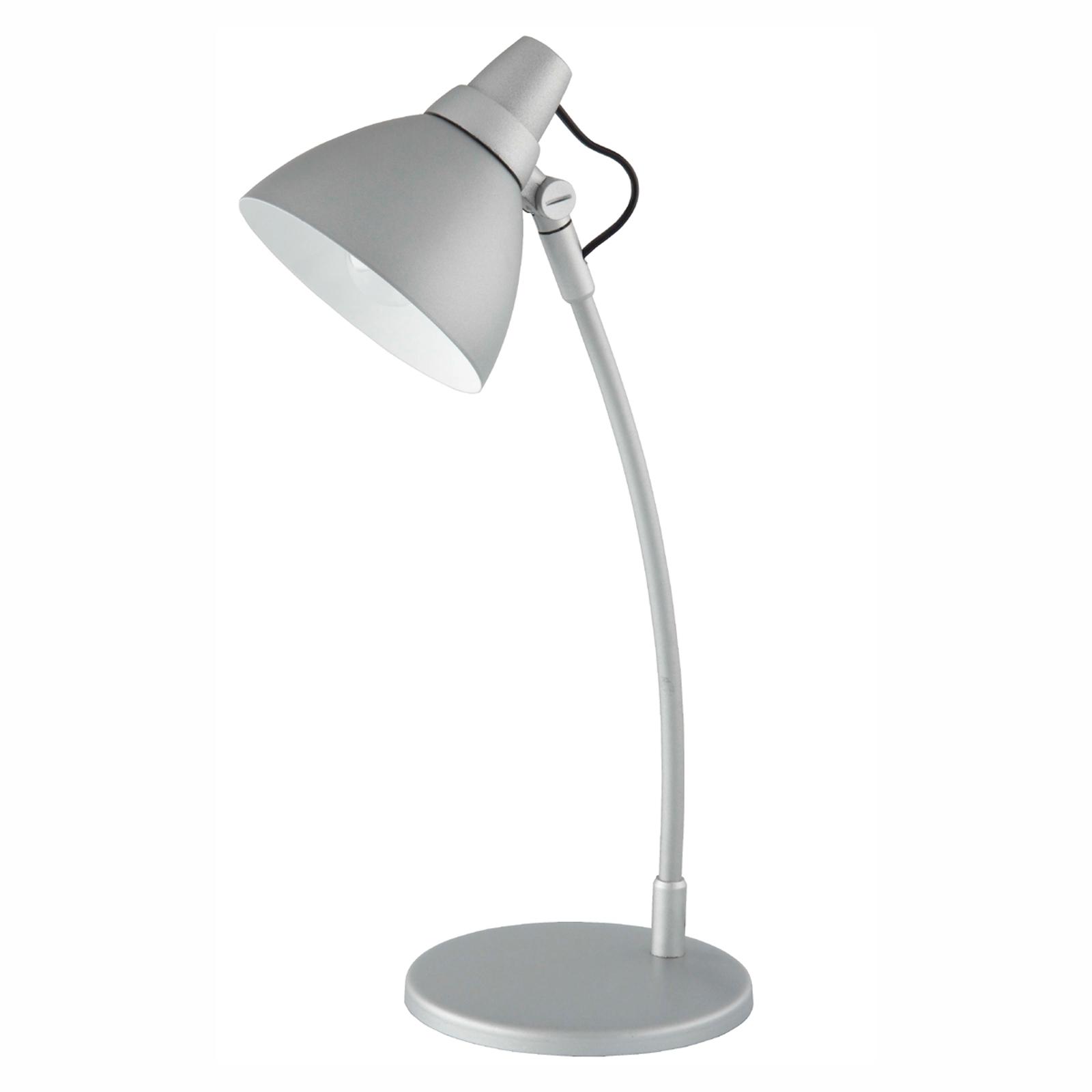 Vrolijk gekleurde tafellamp Onni grijs, op voetst