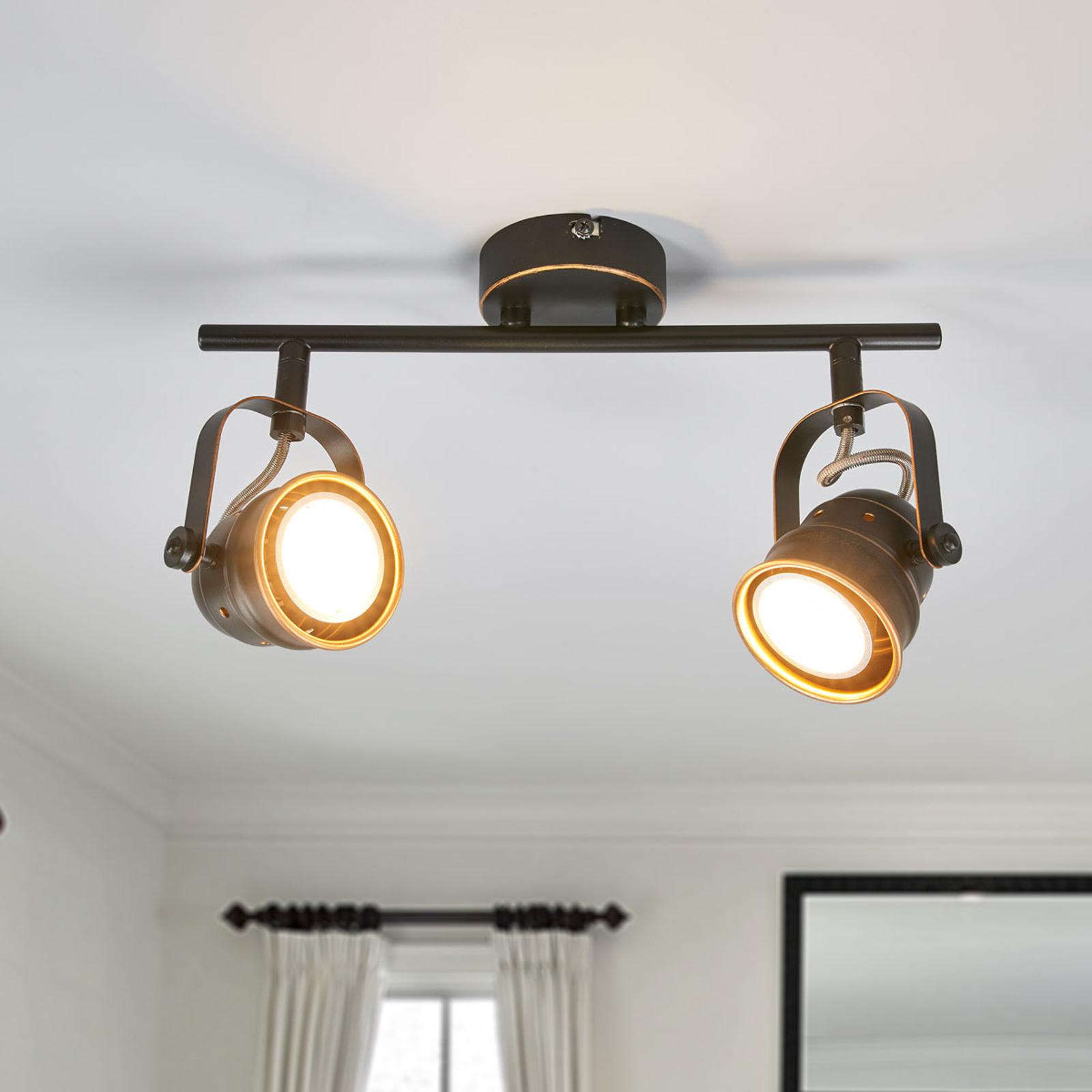 GU10-LED plafondlamp Leonor, zwart en goud