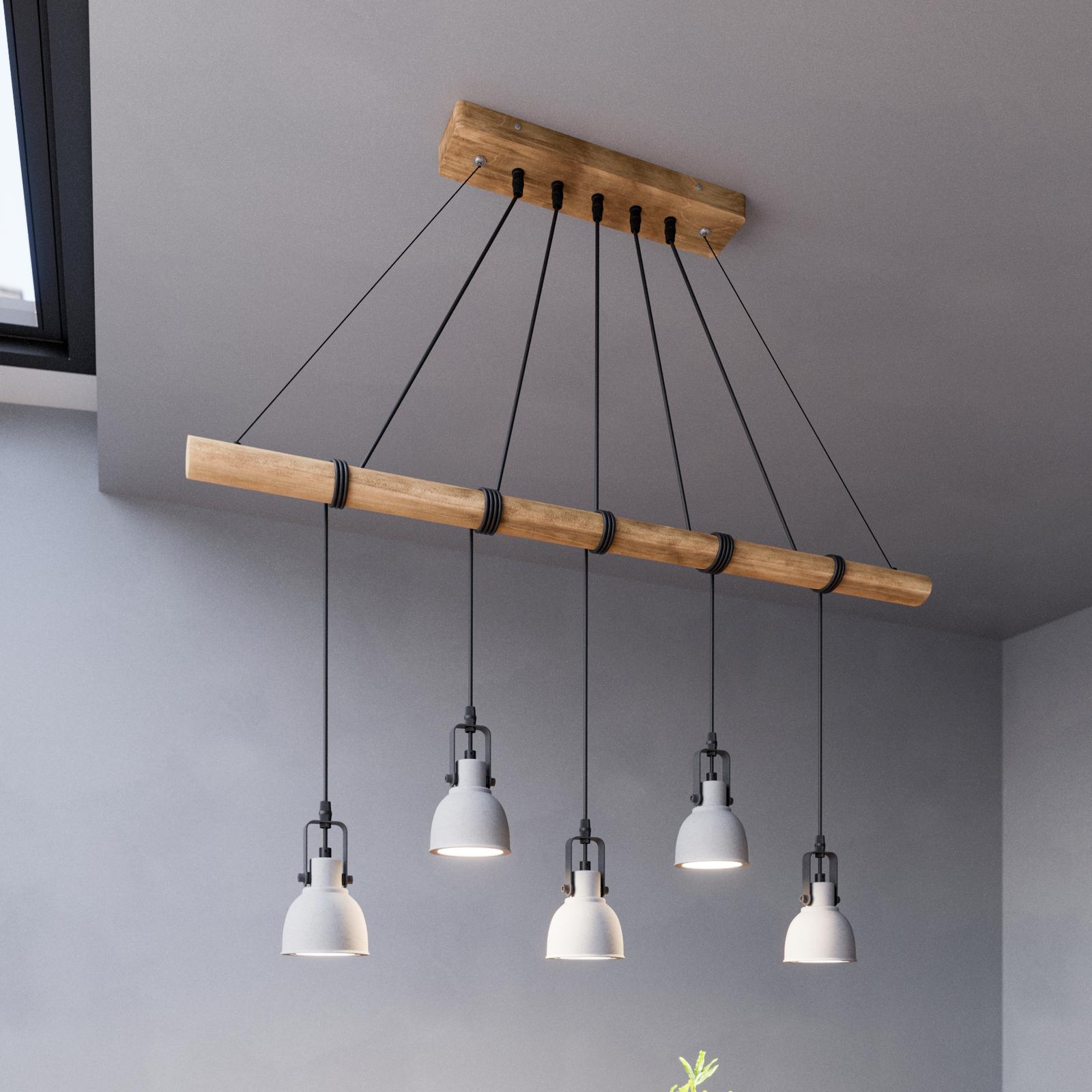 Lindby Mirka LED-Hängeleuchte aus Beton und Holz