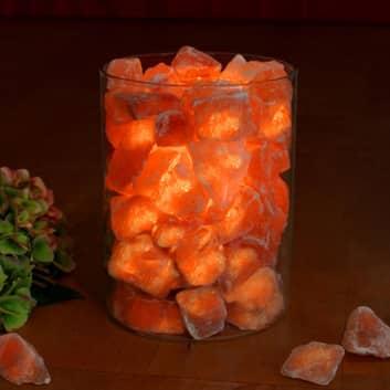 Saltkrystall-flamme i glass