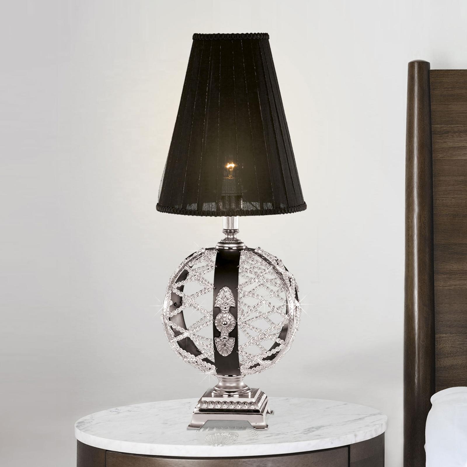 Lampe à poser Arianna, noire, nickel mat, cristal