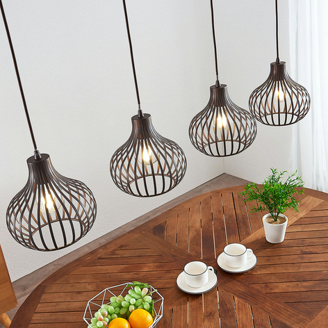 Kooivormige hanglamp Frances, bruin, 4lamps