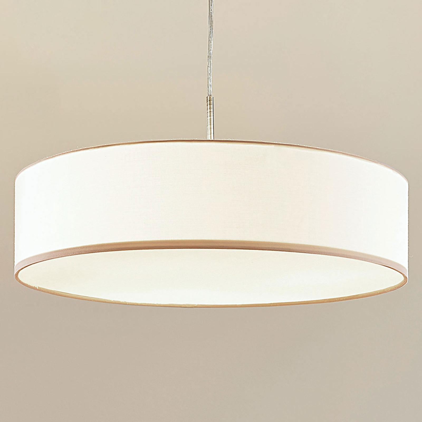 Kremowa lampa wisząca LED SEBATIN z materiału