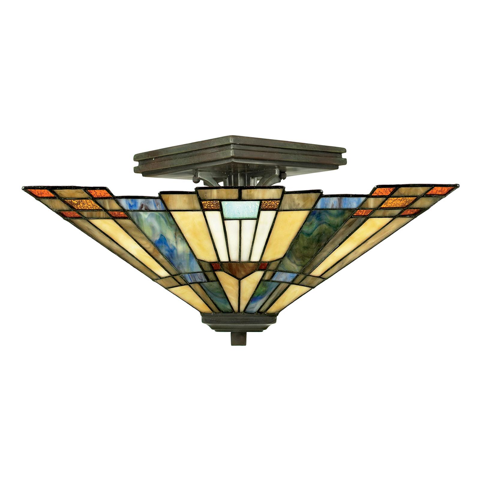 Plafondlamp Inglenook met bont glas