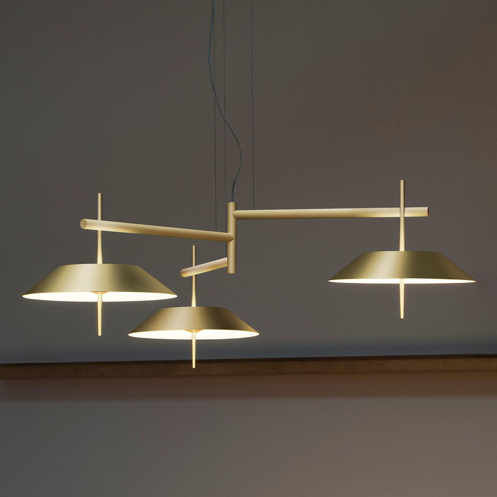 Lámpara colgante LED dorado mate 3 brazos