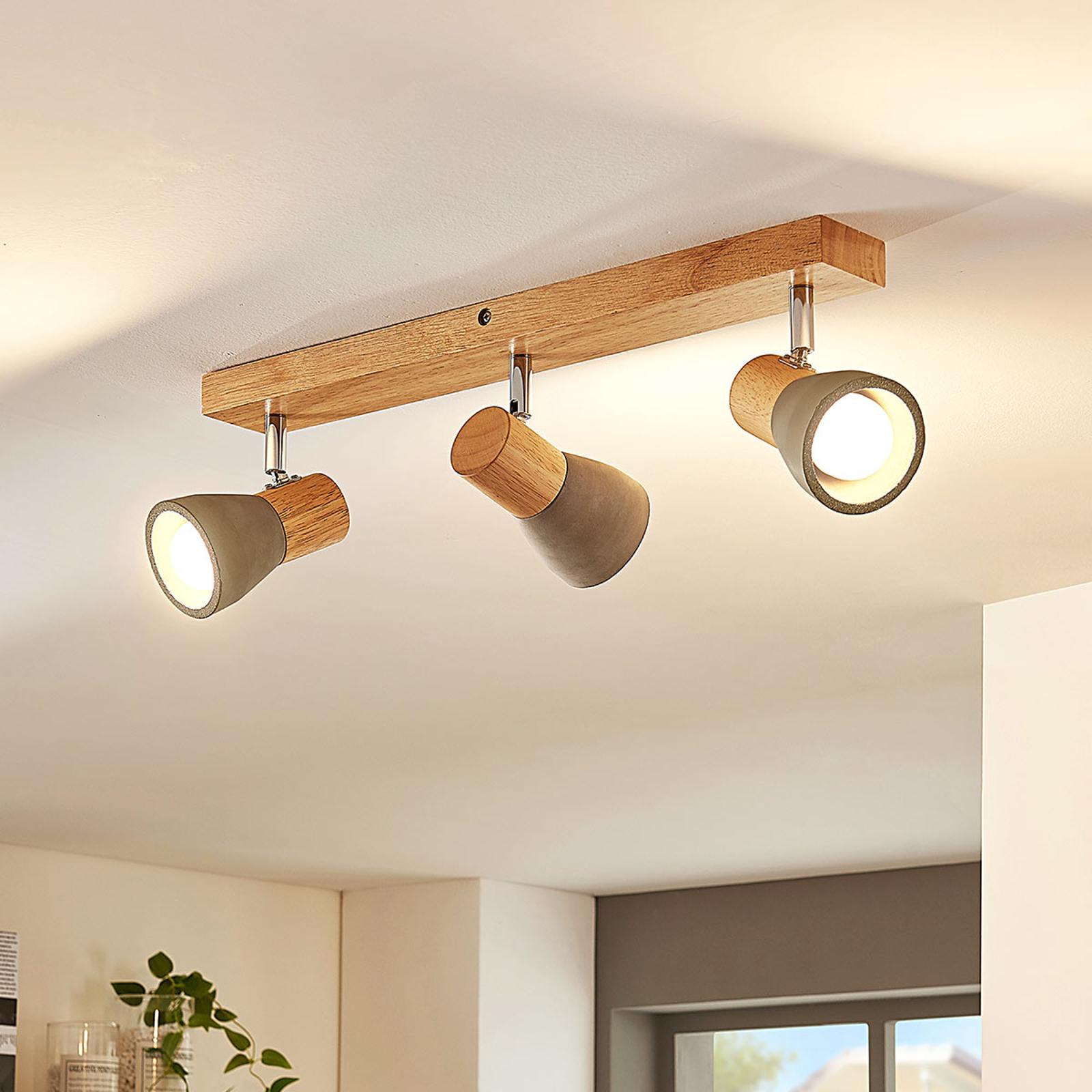 Filiz - lámpara LED techo hormigón madera, 3 focos