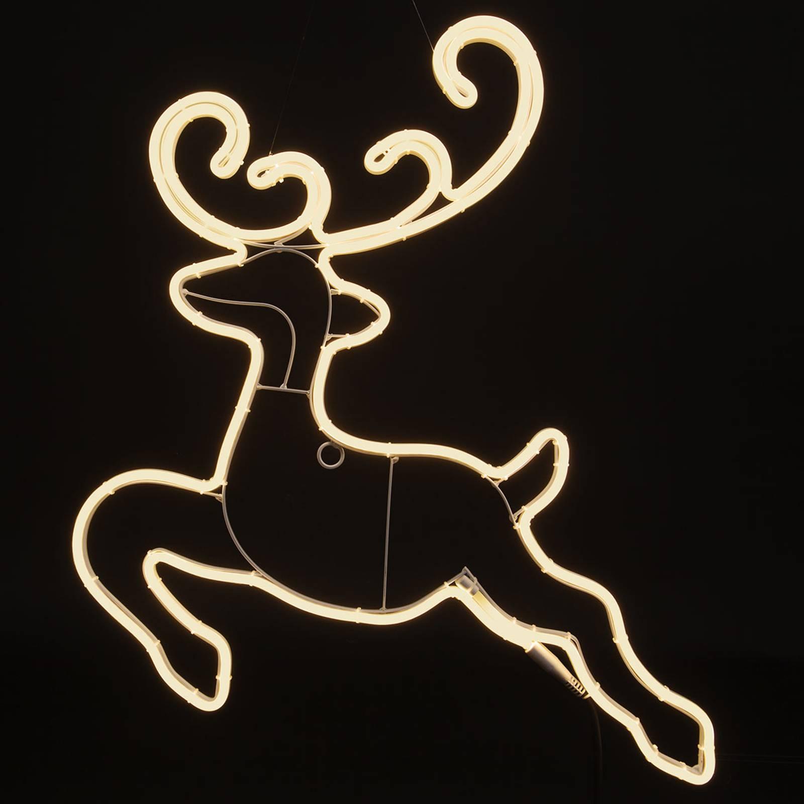 *For X-Mas*: LED-Rentier aus Kunststoff, springend