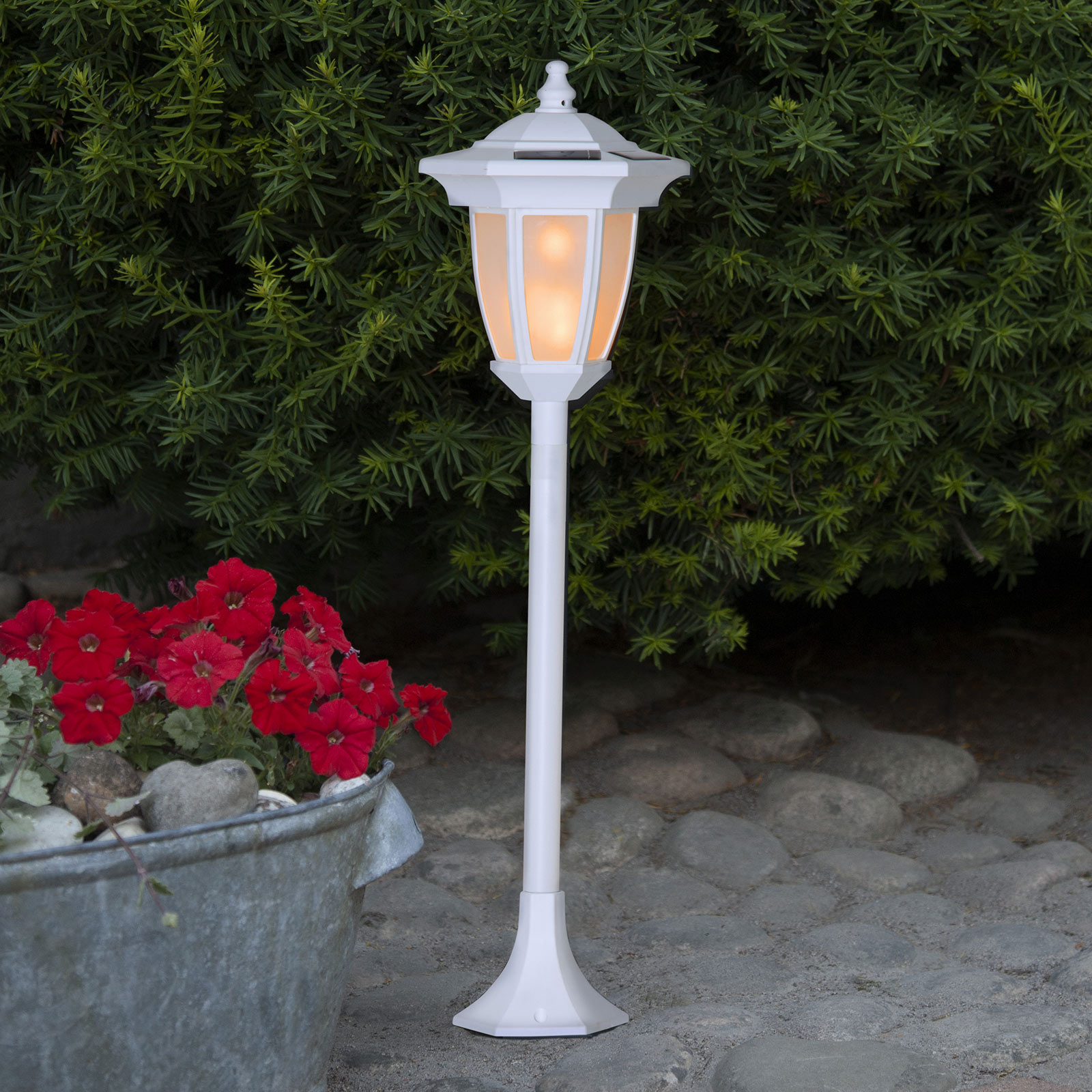 LED-Solarleuchte Flame, 4 in 1, weiß
