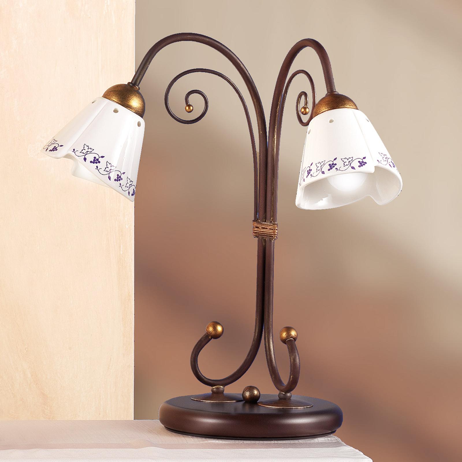 Elegante lampada da tavolo CARTOCCIO, 2 punti luce