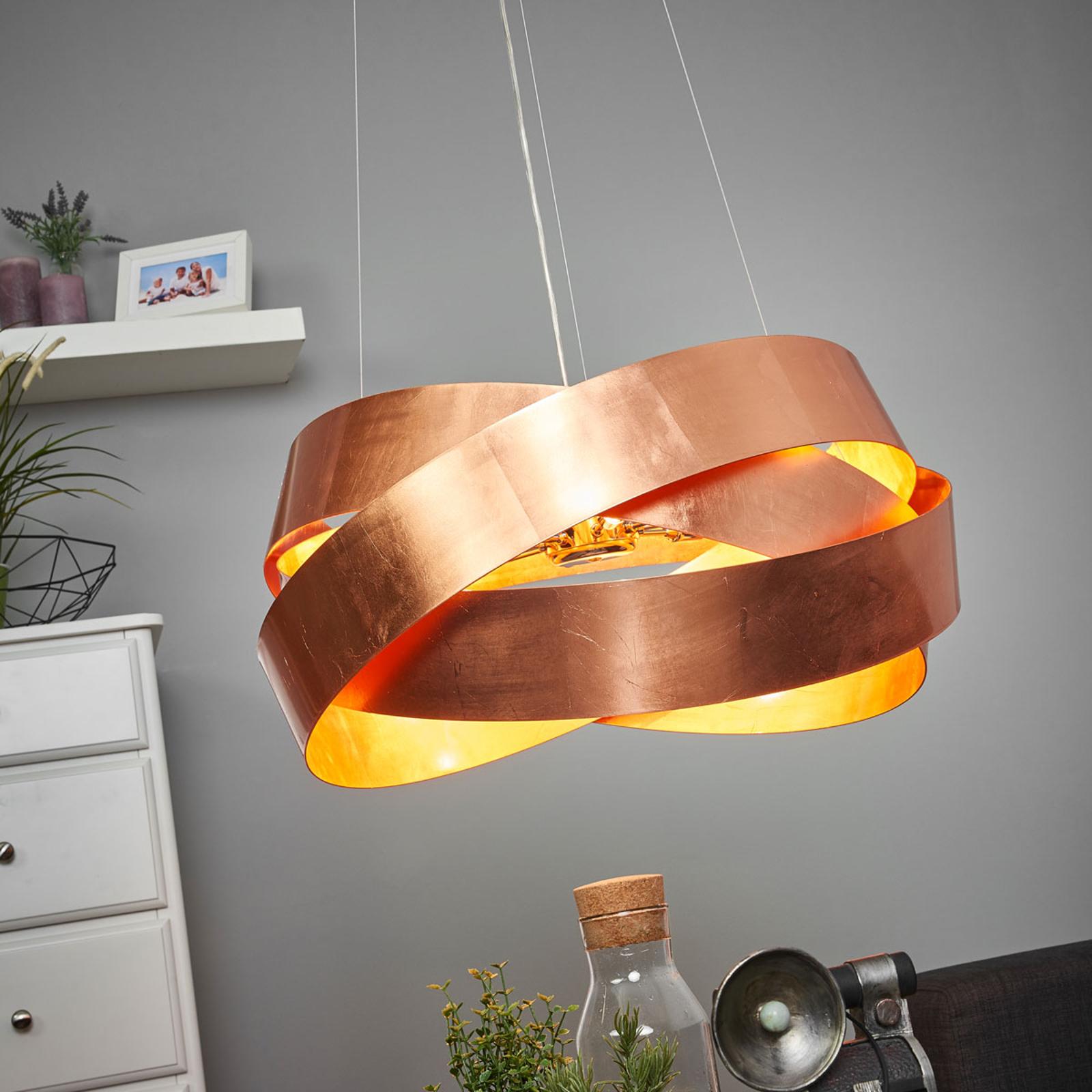 Glanzende hanglamp Pura in koper