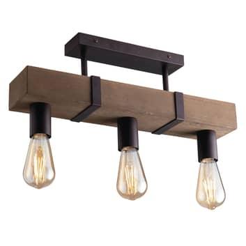 Plafoniera Texas di legno anticato, 3 luci
