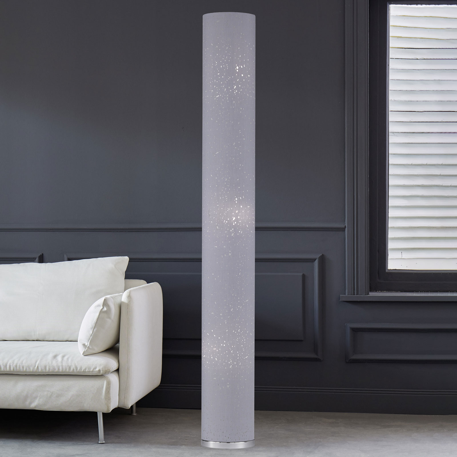 156cm – tekstylna lampa stojąca Thor, szara