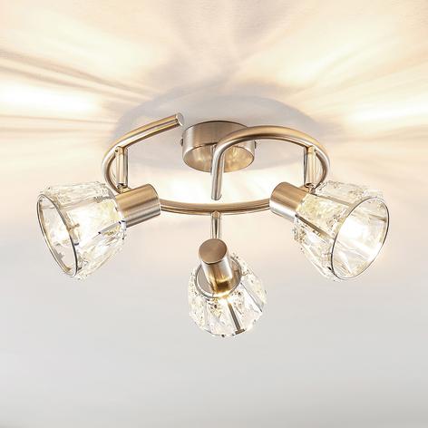 Lindby Kosta Plafonnier à 3 lampes, nickel
