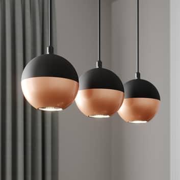 Lámpara colgante Midway negro/cobre 3 luces larga
