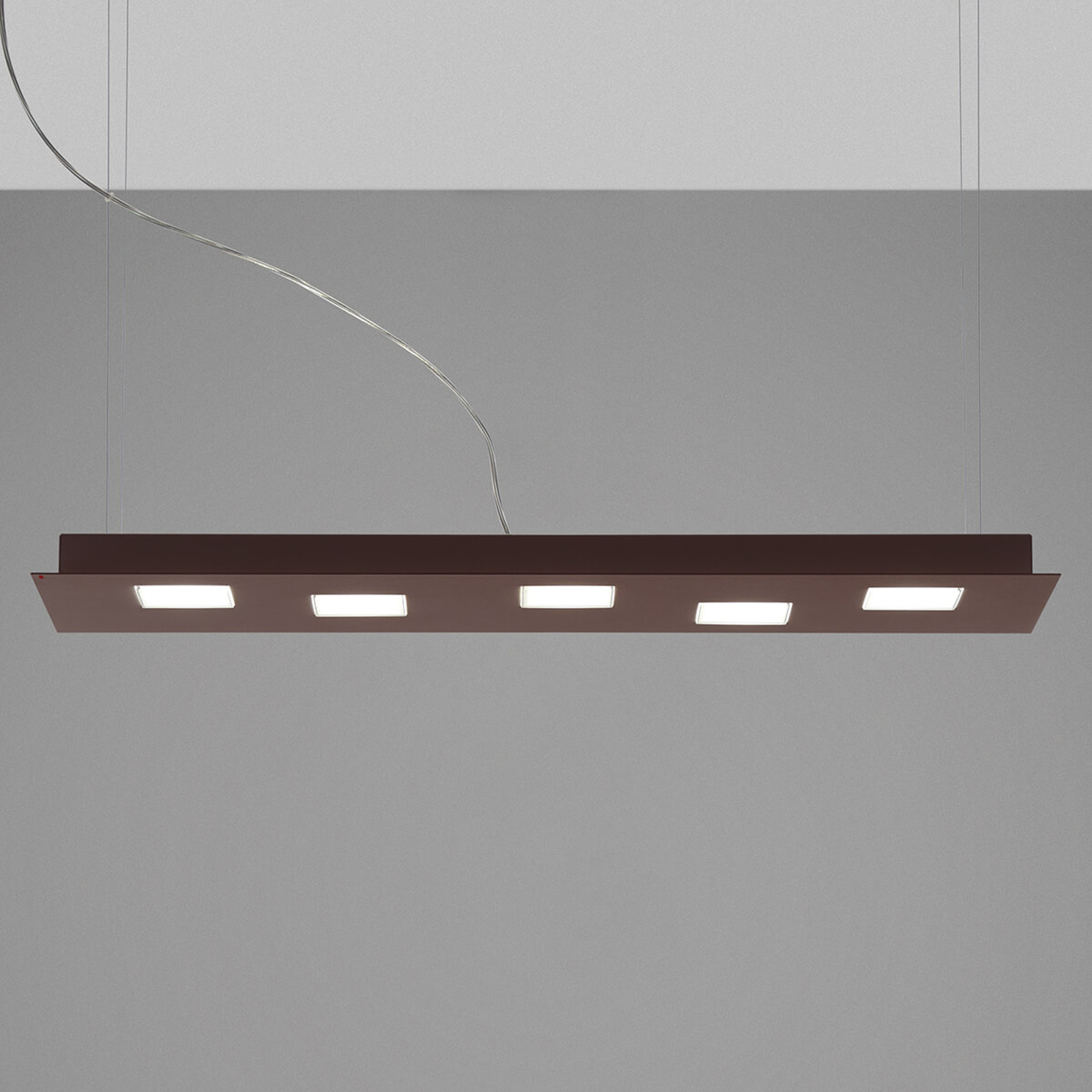 Fabbian Quarter - braune LED-Hängeleuchte 5flg.