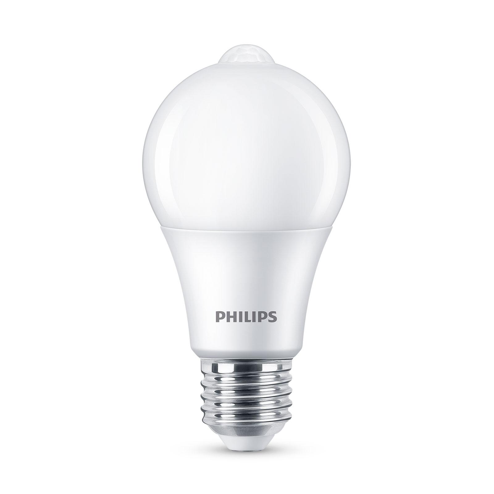 Philips LED-pære E27 A60 sensor 8W 2.700K, mat