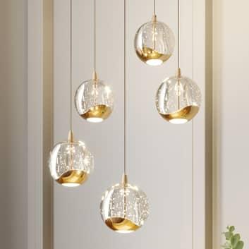 LED-pendellampe Hayley, 5 lys, rund, guld