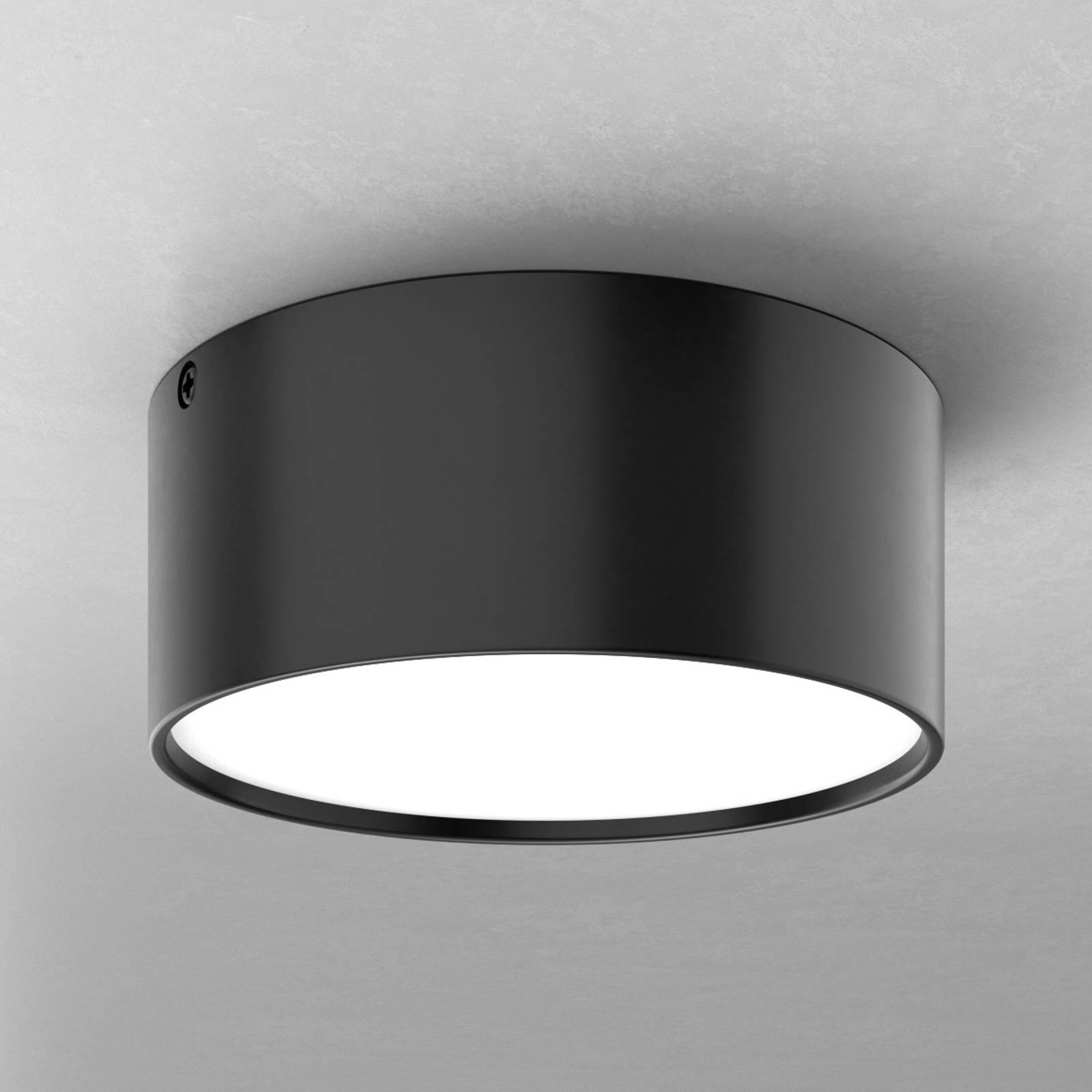 Prosta lampa sufitowa LED Mine, czarna, 14 cm
