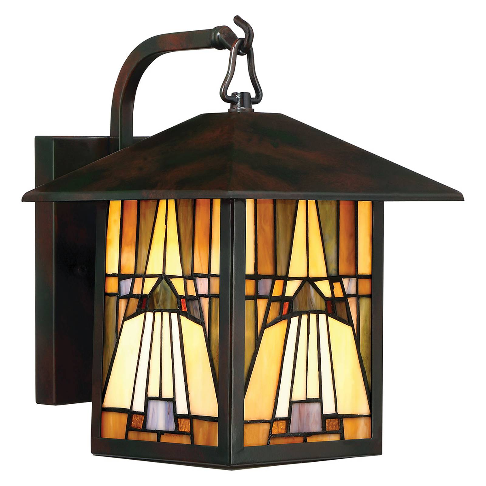 Buitenwandlamp Inglenook, bont glas, H 31,4 cm