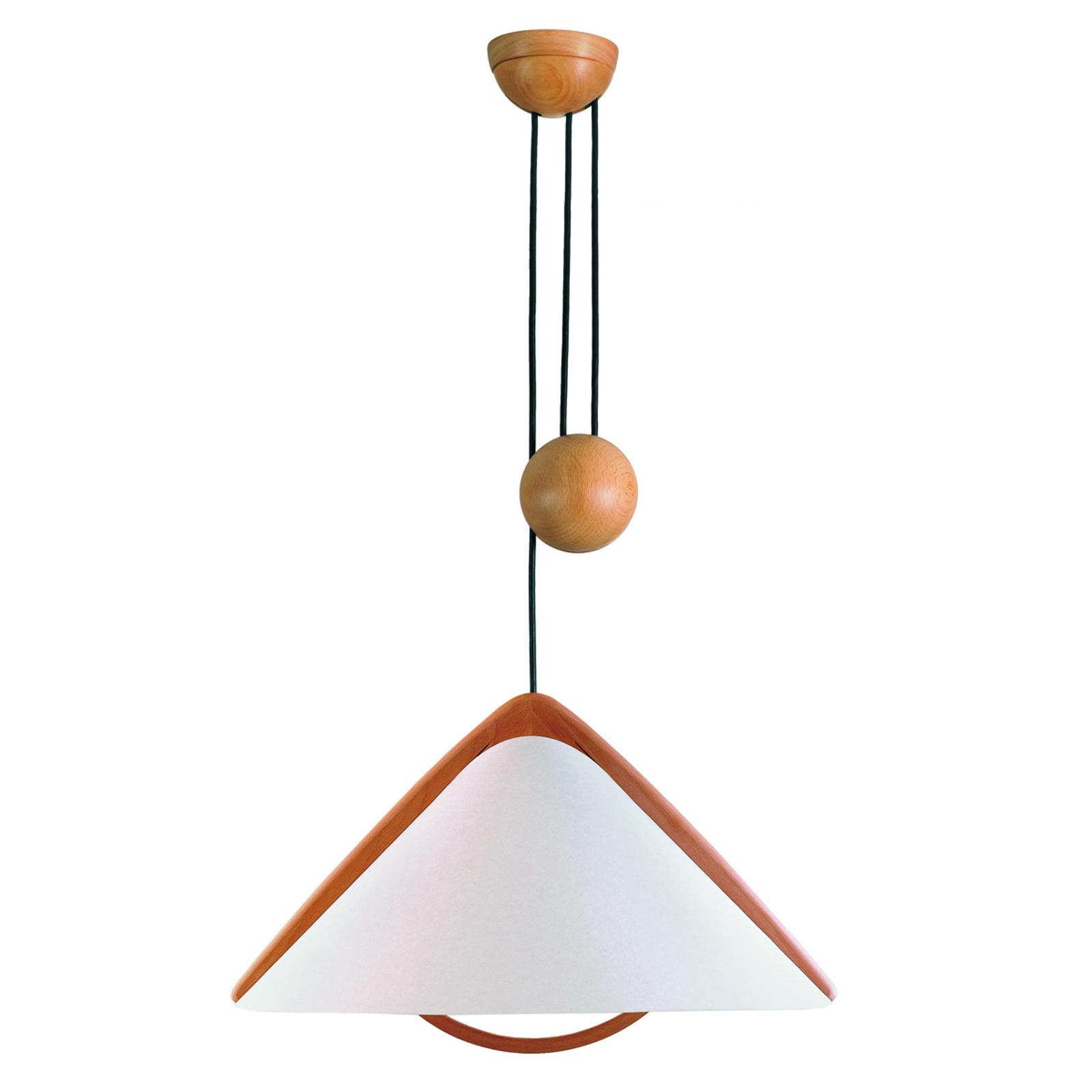 Pila lampe med snoretræk og skærm af lunopal