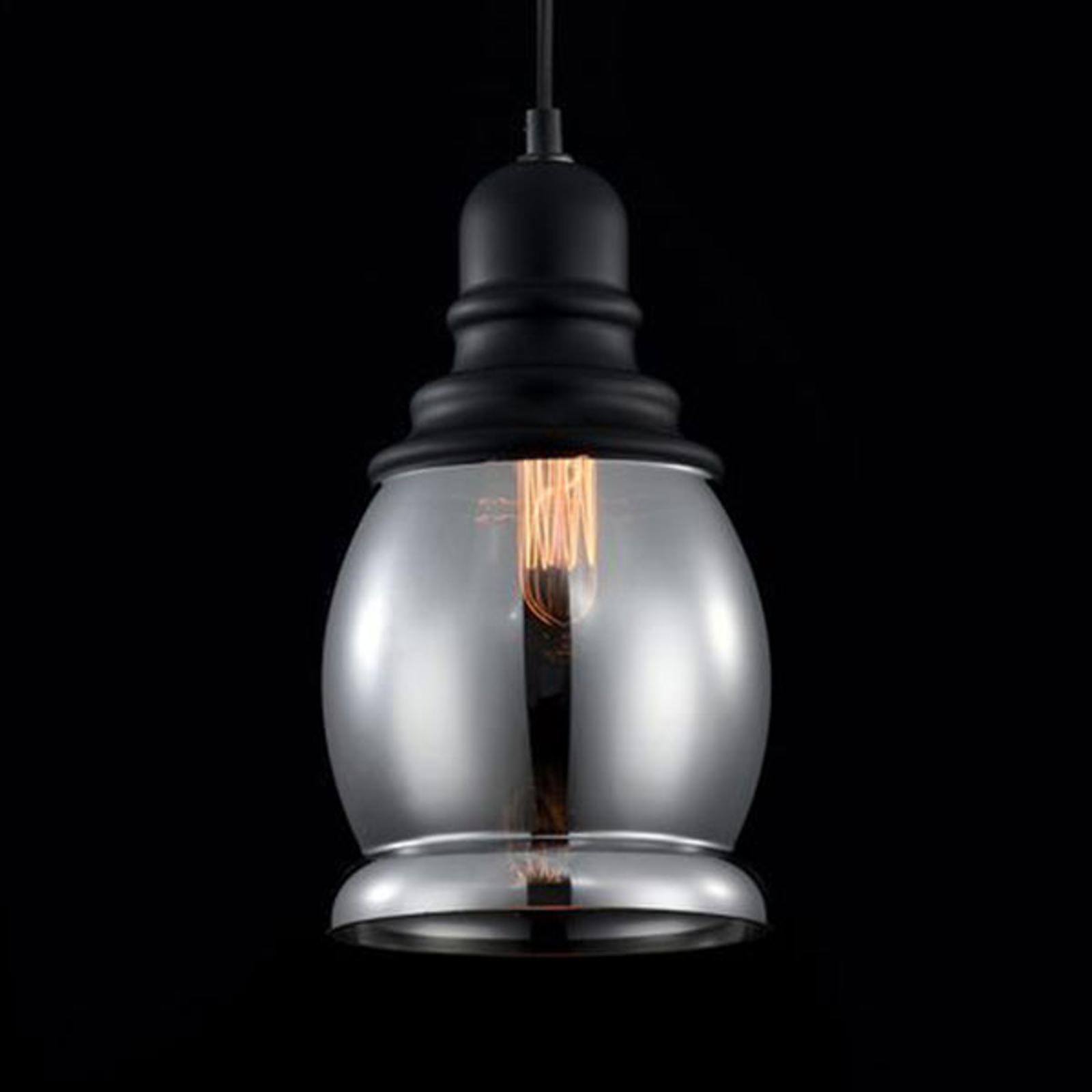 Przepiękna lampa wisząca ze szkła dymnego Danas