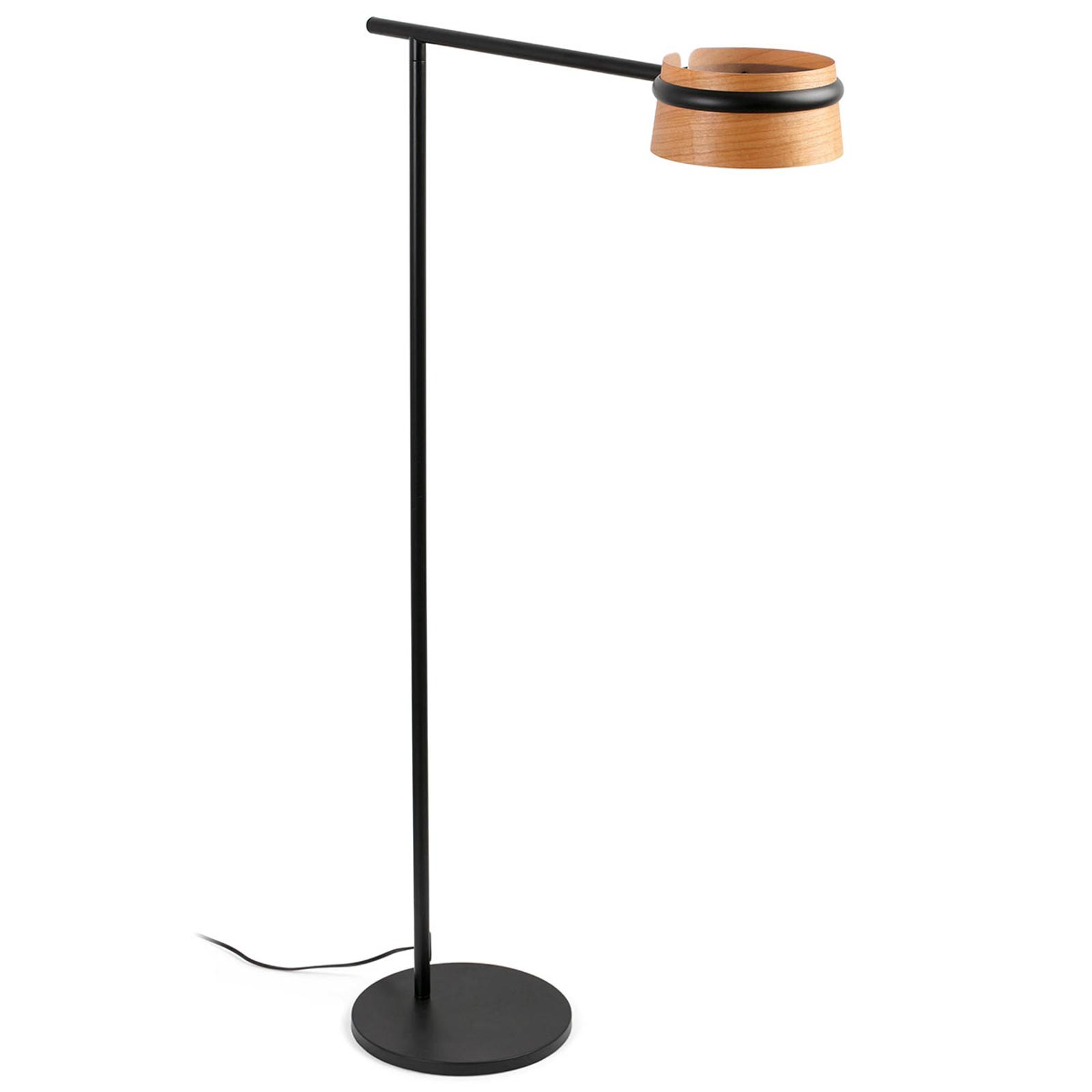 LED Stehlampe Loop mit Touchdimmer u. Holz Schirm