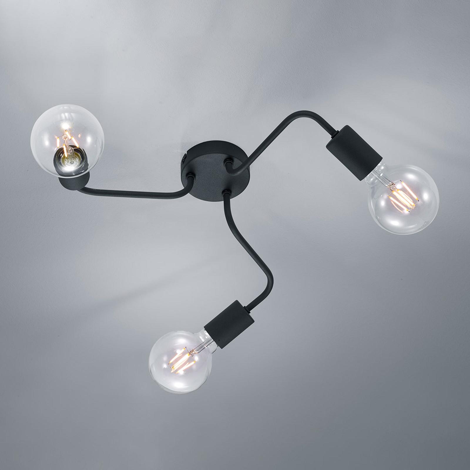 Taklampe Diallo 3 lyskilder, svart matt
