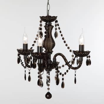 Lustre noir Perdita, à trois lampes