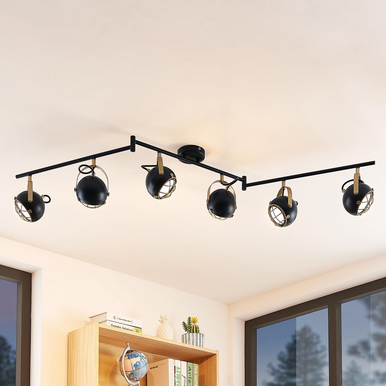 Lindby Dawid LED plafondlamp in goud, 6-lamps