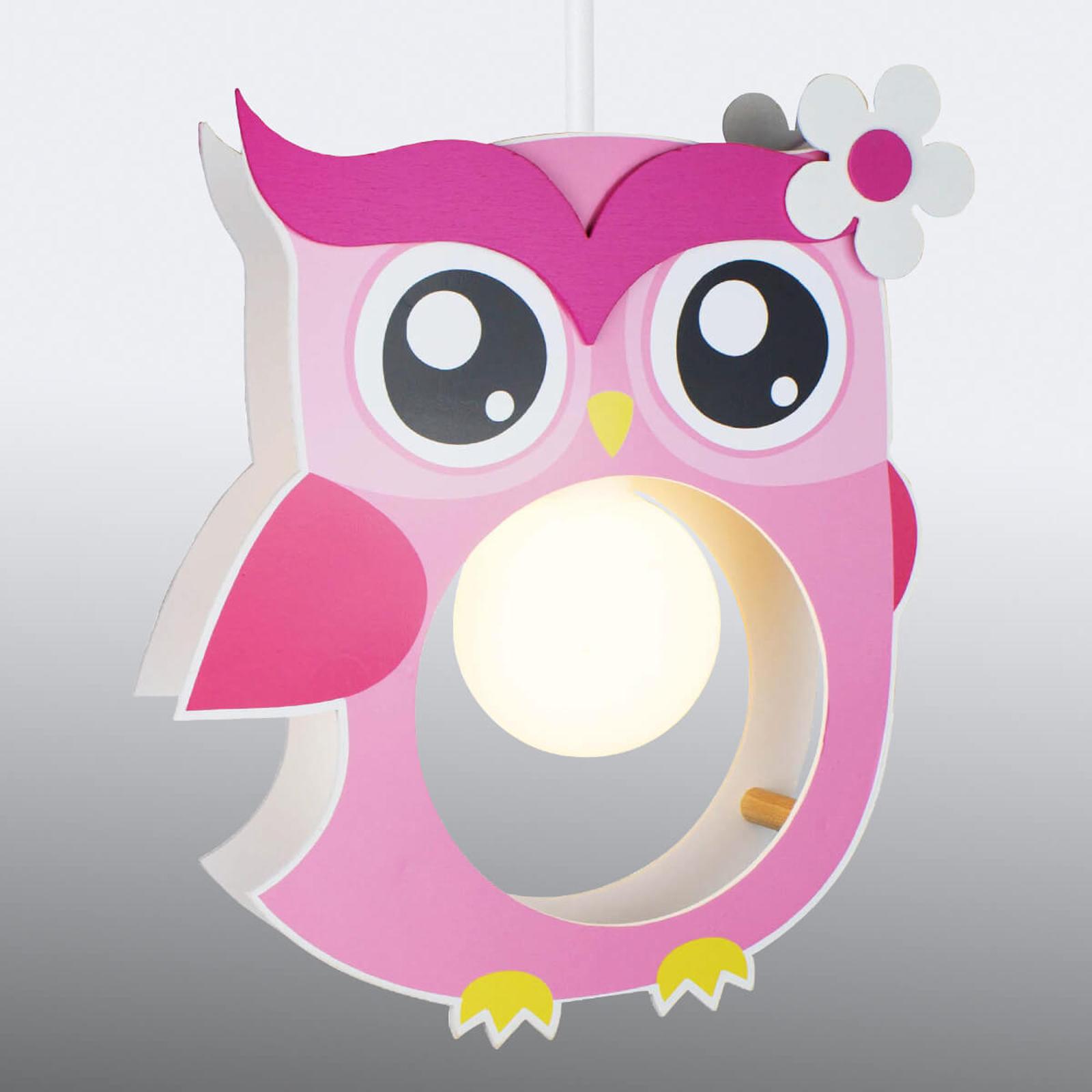Różowa lampa wisząca Erna w kształcie sowy