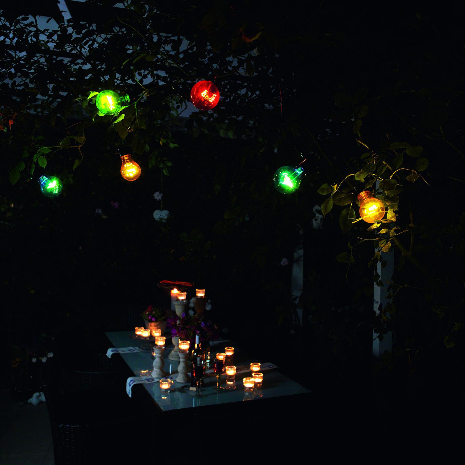 Valoketju Biergarten 10 värikästä LED-lamppua