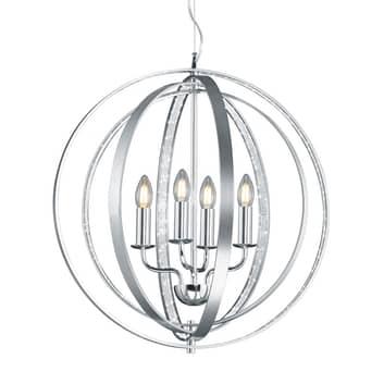 Lámpara colgante Candela en aluminio y cromo
