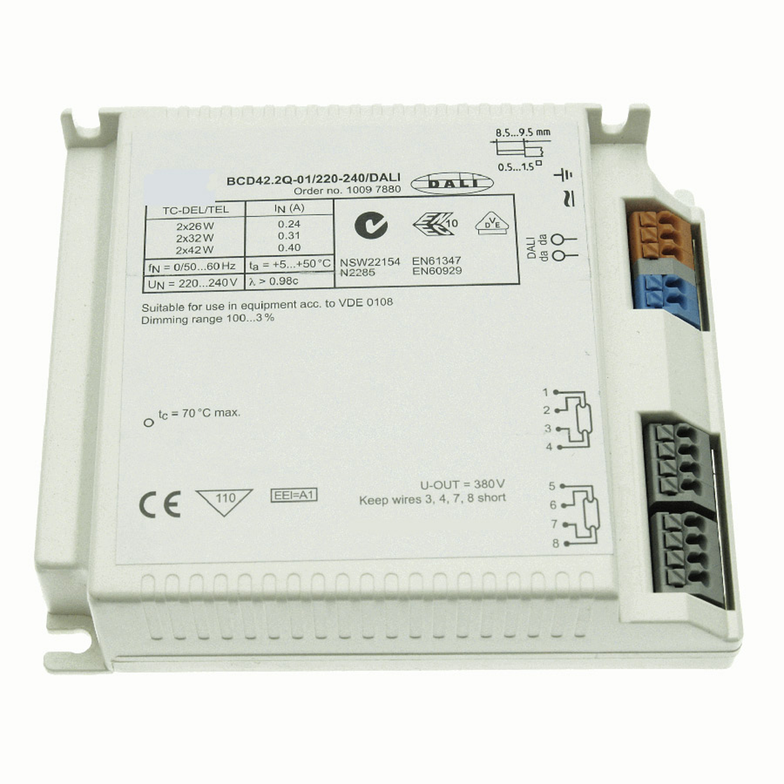 BE 2 x 26-42W BCD42.2Q-01/220-240/dimmable DALI