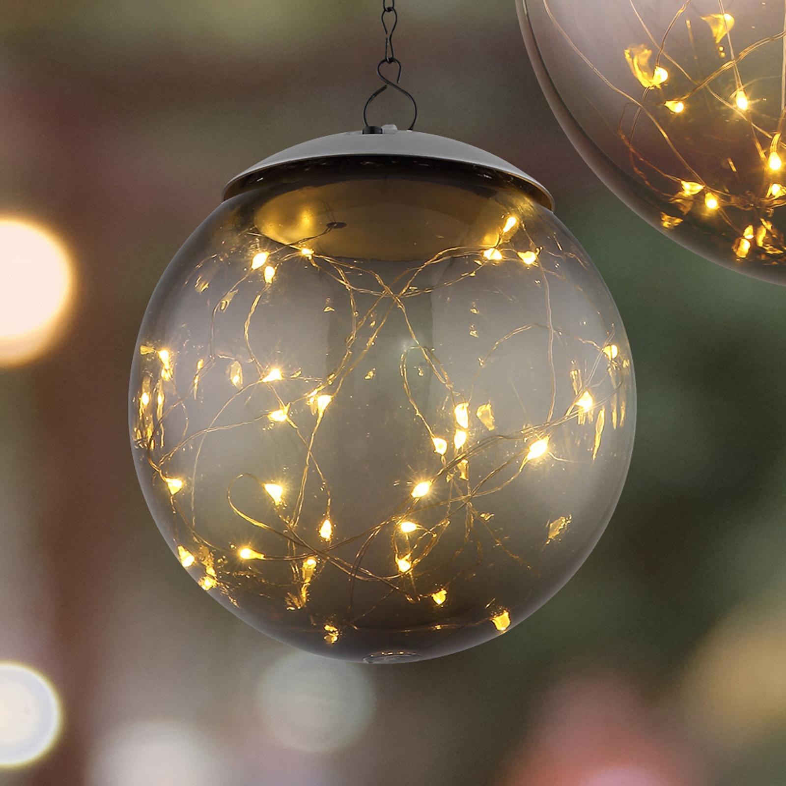 LED-solcellshänglampa med kulskärm Ø 15 cm