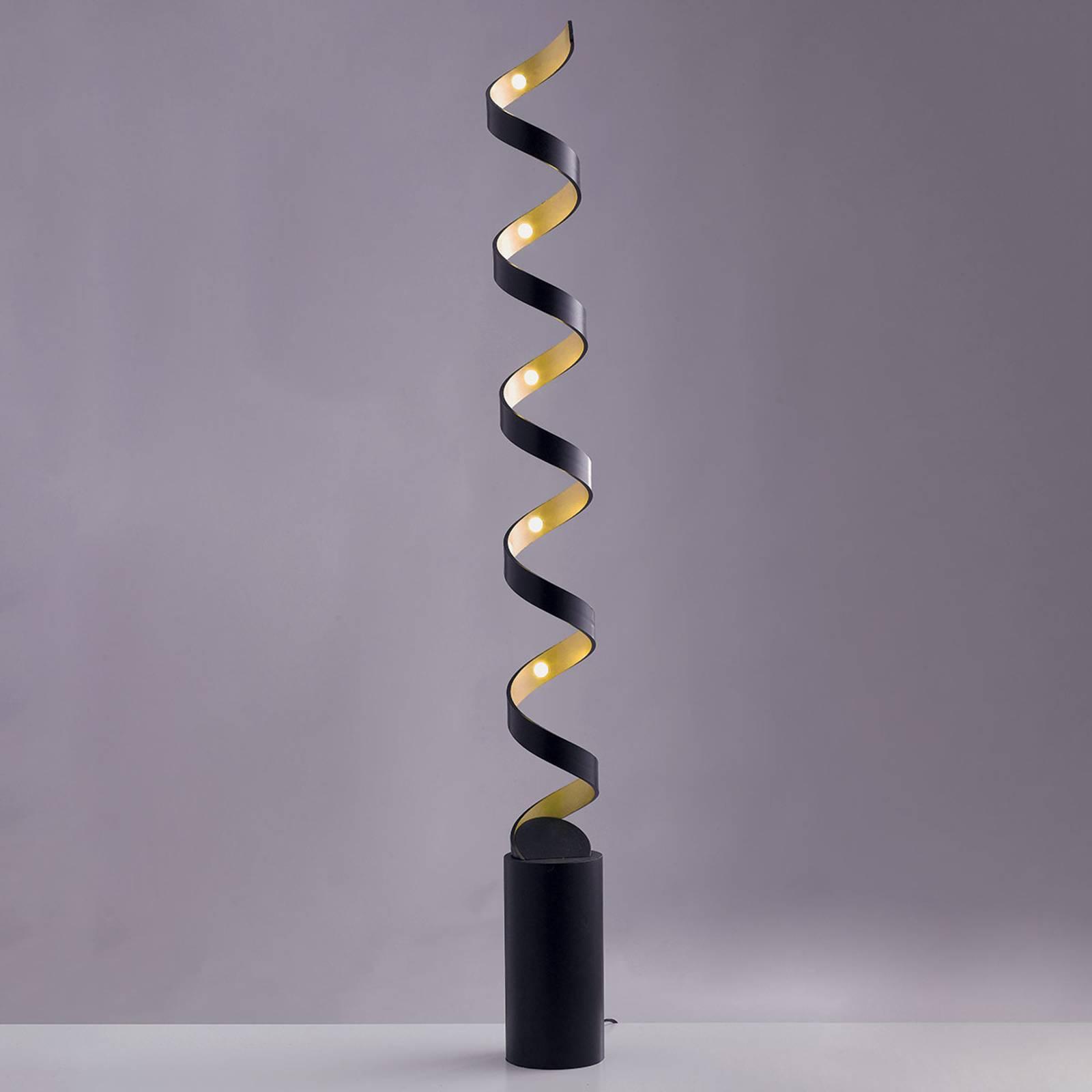 LED vloerlamp Helix in zwart-goud